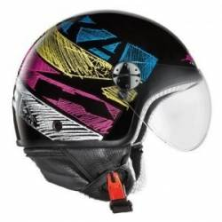 Casco Jet Axo Subway Black Yellow Ky