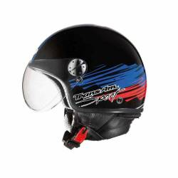 Casco Jet Axo Subway Black Blue Red Kbr