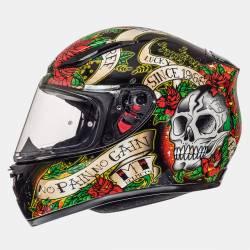 Casco MT Revenge Skull & Rose Negro Rojo