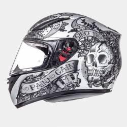 Casco MT Revenge Skull & Rose Negro Plata