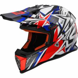 Casco Cross LS2 Fast Strong blanco azul rojo