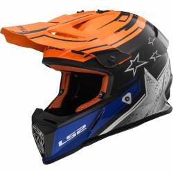 Casco cross LS2 Fast negro mate naranja