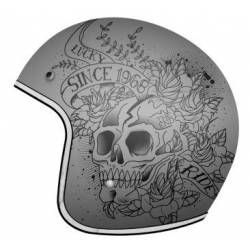 Casco Mt Le Mans Skull & Roses Gris Mate