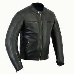 Cazadora De Piel Bstar Moto Nevada Negra